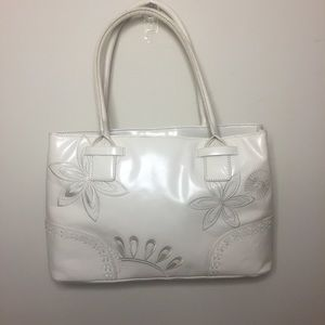 Laura Ashley White/Off White Leather Bag/Tote